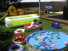 Back Yard Water Park 9 great for afternoon of elementary field day.  (borrow horse tanks)