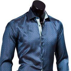 Темно зеленая мужская рубашка slim fit (стрейч) купить недорого в Москве