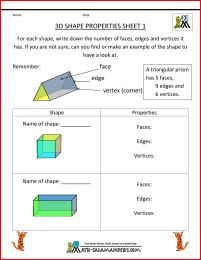 3d shape worksheets 1 - properties of 3d shapes cube and cuboid
