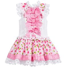 Little Darlings Pink Floral Dress with Lace & Bows at Childrensalon.com
