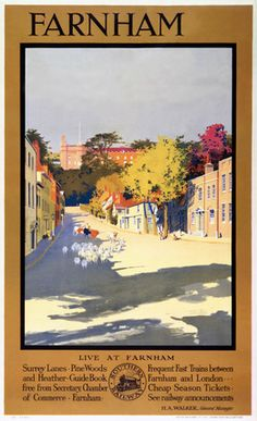 inch Canvas Print (other products available) - Poster produced for the Southern Railway featuring sheep being led down a quiet street in the town. Artwork by Herbert Gandy.<br> - Image supplied by National Railway Museum - Box Canvas Print made in the USA Farnham Surrey, National Railway Museum, Sheep Art, Fine Art Prints, Canvas Prints, Southern Railways, Railway Posters, Vintage Travel Posters, Poster Vintage