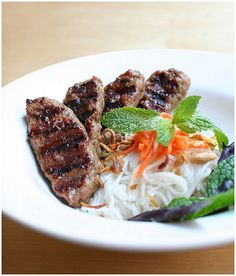 Bun Nem Nuong • Vermicelli with Grilled Pork Patties and Fresh Herbs • Vietnamese food
