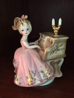 "Vintage JOSEF ORIGINALS Tammy/ Girl Playing Piano Music Box: ""Humoresque"" Japan                                                                                                                                                      More"