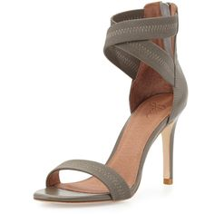 Joie Elaine Elastic Leather Sandal ($128) ❤ liked on Polyvore featuring shoes, sandals, heels, high heels, high heel shoes, leather strappy sandals, criss-cross sandals, heeled sandals and leather shoes