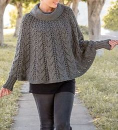 Knitting Pattern for Forevermore Poncho - Lace poncho with cowl neck and sleeves. Sizes: S/M (L/XL 2XL/3XL)