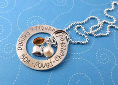 Adoption Necklace, Sterling Silver Hand Stamped, Cherished, Wanted, Prayed For, Loved. $60.00, via Etsy.
