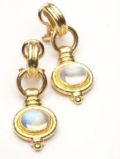 Elizabeth Locke Cheerio Earring with Rainbow Moonstone by Elizabeth Locke from Amanda Pinson Jewelry
