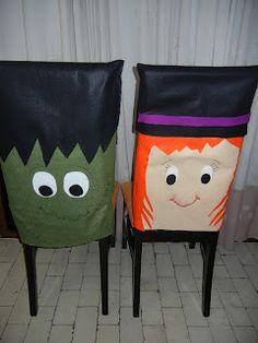 Fundas para sillas de Halloween. Bruja y Franky!!!