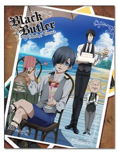 BLACK BUTLER CIEL & SEBASTIAN & MR. TANAKA SUBLIMATION THROW BLANKET