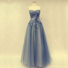 Sweetheart Long Tulle Prom Dresses Handmade Flowers pst0208