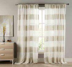 Two (2) Extra Long Cabana Stripe Curtain Panels: Linen Blend, Stripes, 108Wx112L #BathroomandMore #Contemporary