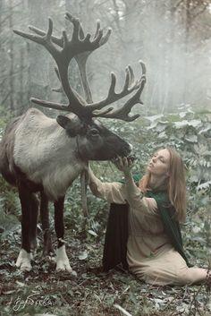 girl animal nature fantasy woman medieval moose fairytale nordic celtic pagan viking vikings norse asatru heathen