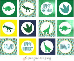 Dinosaur Party Circles Printable // MeaganMusing