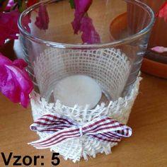 Svietnik sklenený s mašľou - Sviečka - S čajovou sviečkou (plus 0,10€), Vzor - Vzor 5