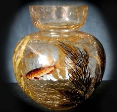 Beautiful Bohemian crackle glass with enamelled fish decorations by Moser, c. 1890-1910