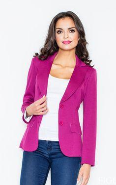 Magenta Fitted Waist Blazer Jacket - SilkFred