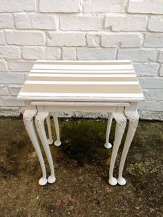 Stripy Shabby Chic Victorian Duo of Nesting Tables in Farrow & Ball and Annie Sloan Paint