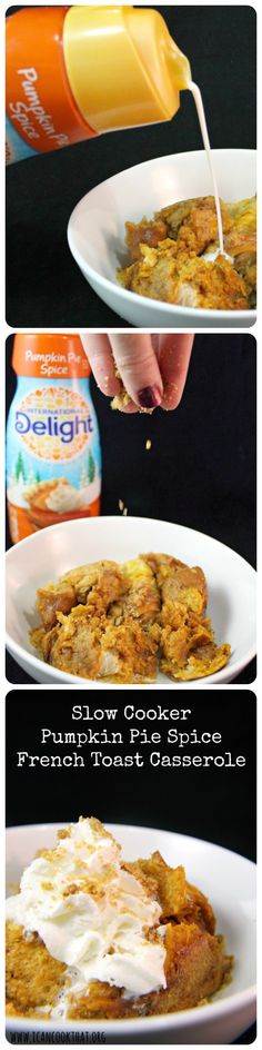 Slow Cooker Pumpkin Pie Spice French Toast Casserole #DelightfulMoments #ad @walmart