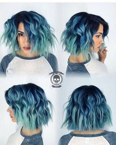 Grunge bob haircut with blue hair color melting to mint green hair color by Rick. - İnteresting Hair İdeas Here Mint Green Hair, Green Hair Colors, Hair Color And Cut, Hair Color Blue, Hair Colours, Grey Hair With Blue Highlights, Short Hair With Color, Blue Peekaboo Highlights, Teal And Purple Hair