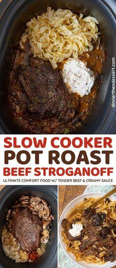 Slow Cooker Pot Roast Beef Stroganoff is tender, shredded chuck roast, creamy sour cream mushroom sauce and egg noodles. #stroganoff #beefstroganoff #potroast #chuckroast #shreddedbeef #dinner #dinnerthendessert Pot Roast Beef, Slow Cooker Roast, Pot Roast Recipes, Crock Pot Slow Cooker, Crock Pot Cooking, Slow Cooker Recipes, Beef Recipes, Cooking Recipes, Pot Roast Stroganoff Recipe