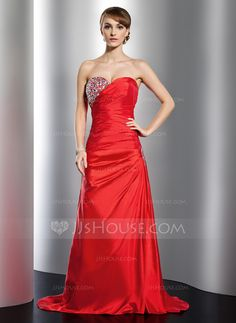A-Line/Princess Sweetheart Sweep Train Taffeta Holiday Dress With Ruffle Beading (020026038) - JJsHouse