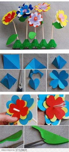 Fun Craft Projects For Kids :Spring & Summer Fun : Colorful paper flowers craft activity for kids to make and display : Great for classroom artwork Kids Crafts, Summer Crafts, Easter Crafts, Projects For Kids, Diy For Kids, Diy And Crafts, Craft Projects, Arts And Crafts, Recycled Crafts