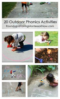 Roundup of 20 outdoor phonics activities ... many of them with activities for multiple levels plus huge collection of roundups