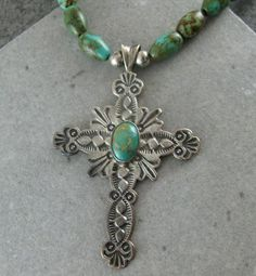Vintage Navajo Indian FRANCIS Green Turquoise Sterling Silver Cross Necklace
