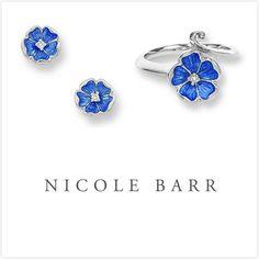 NICOLE BARR ENAMEL ROSE FLOWER DIAMOND EARRINGS