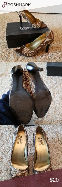Carlos Santana heels Like New. Beautiful gold embellishment Carlos Santana Shoes Heels