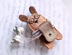 Mr Spec Rabbit with Tail Earphones Winder from Lily's Handmade - Desire 2 Handmade Gifts, Bags, Charms, Pouches, Cases, Purses by DaWanda.com