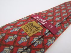 Auth HERMES Tie 716 FA Vintage Collector Equestrian Chain First Place Ribbon #Hermes #Tie
