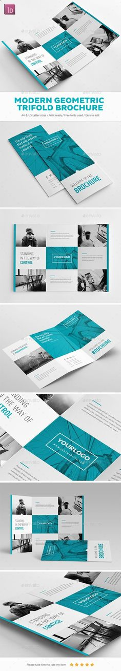 Modern Geometric Trifold Brochure Design - Brochures Print Template InDesign INDD. Download here: graphicriver.net/...