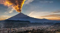 Smoking volcano and sunset - Great activity form the Popocatepetl volcano, this afternoon, Santiago Xalitzintla, a little town , 10 miles near to the volcano