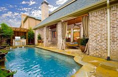 Brick columns Exteriors - traditional - pool - dallas - Platinum Series by Mark Molthan Brick Columns, Outdoor Curtains, Small Pools, Outdoor Spaces, Outdoor Decor, Dream Rooms, Pool Designs, Traditional Design, Curb Appeal