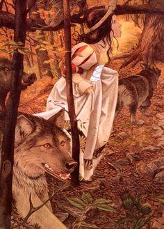 Charles Santore: Snow White (Branca de Neve - Branca de Neve atravessa sozinha a floresta)