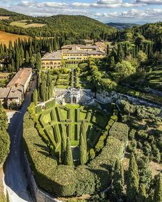 """Air view of Villa La Foce near Chianciano Terme a wonderful villa with probably one of the most beautiful garden of Europe. . Photo by @guido.cozzi From the book """"Belvedere flyng above Tuscany . #TuscanyPlanet #toscana #italia #airview #drones #italia #photography #belvedere #guidocozzi #atlantidephototravel #valdorcia #siena #photographer #ig_tuscany_ #visittuscany #tuscanygram #tuscany #aerialphotography #lafoce"""