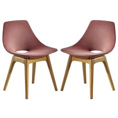 Pair of Upholstered Wooden Chairs by Pierre Guariche 1