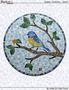 Mosaico pássaro - Sabiá by Artcolor mosaicos - Beto Romio & Fabbio Joe, via Flickr