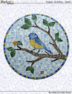 Mosaico pássaro - Sabiá by Artcolor mosaicos - Beto Romio & Fabbio Joe, via Flickr