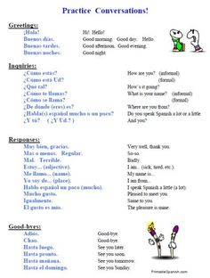 FREE packet on Beginning Conversations in Spanish Spanish Help, Spanish Lessons For Kids, Learn To Speak Spanish, Learn Spanish Online, Spanish Basics, Spanish Teaching Resources, Spanish Lesson Plans, Spanish Activities, Spanish Words