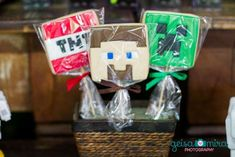 Cool cookie pops at a Minecraft birthday party! See more party planning ideas at CatchMyParty.com!
