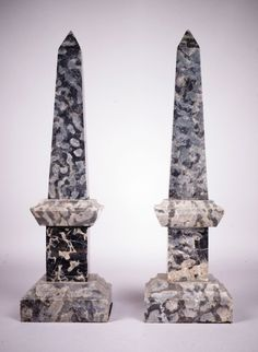 Pair of crystaline grey marble Obelisks. Grand Tour, Decoration, Egyptian, Gray Marble, Carving, Candles, Architecture, Antiques, Objects