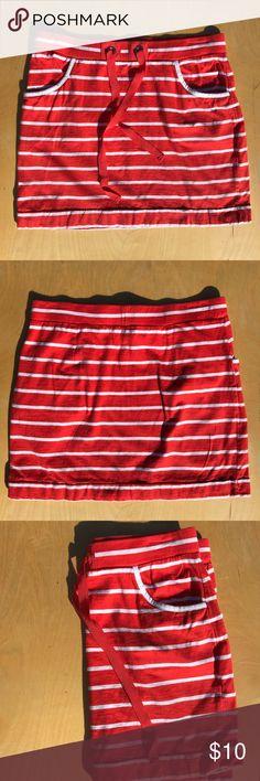 Nautica orange and white striped skirt Nautical style, drawstring cotton skirt Nautica Skirts Midi