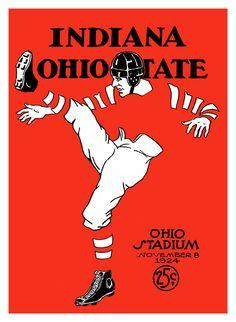 1924 Ohio State Buckeyes vs Indiana Hoosiers 36 x 48 Canvas Historic Football Print