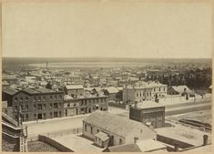 William St,Melbourne,Victoria in 1869 looking north west from Lonsdale St from the tower of Dr Fitzgerald's residence Lonsdale Street West. •State Library of Victoria•