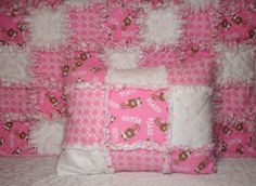 Baby Girl Rag Quilt Blanket and Pillow Case Set  by KeriQuilts, $60.00