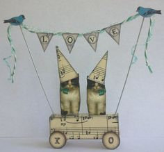 Cats WEDDING Cake Topper Altered Folk aRt LOVE by PaperBunting, $35.95