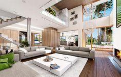 Zdjęcie projektu Dom z widokiem WAH1596 Big Houses Inside, House Inside, Living Room Modern, Home Living Room, New Homes, House Design, Patio, Outdoor Decor, Home Decor