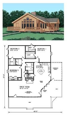Contemporary House Plan 45398 Total Living Area 1737 sq ft 3 bedrooms and Cabin House Plans, Cottage Floor Plans, Cottage Plan, Dream House Plans, Small House Plans, House Floor Plans, Log Cabin Floor Plans, Log Cabin Kits, Dream Houses